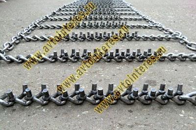 Шипованные цепи противоскольжения на ГАЗ-66 из цепи 8мм