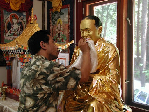 Gelek works on Lama Yeshe statue at Vajrapani Institute, California, USA