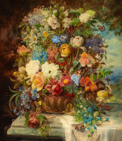 Hans Zatzka - Still life with flowers in a jardiniere resting on a ledge
