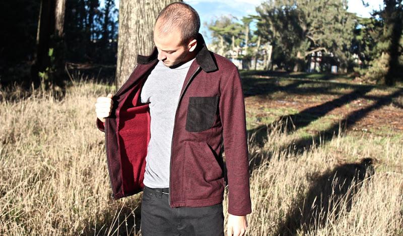 Hemp Fleece Jacket: Adam inspects jacket
