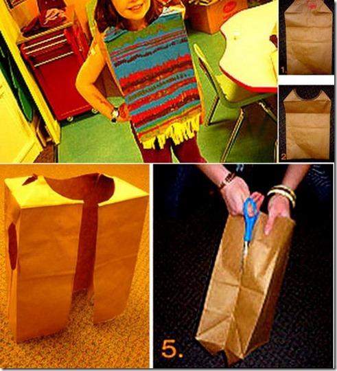 Poncho-mexicano-reciclado con bolsa de papel
