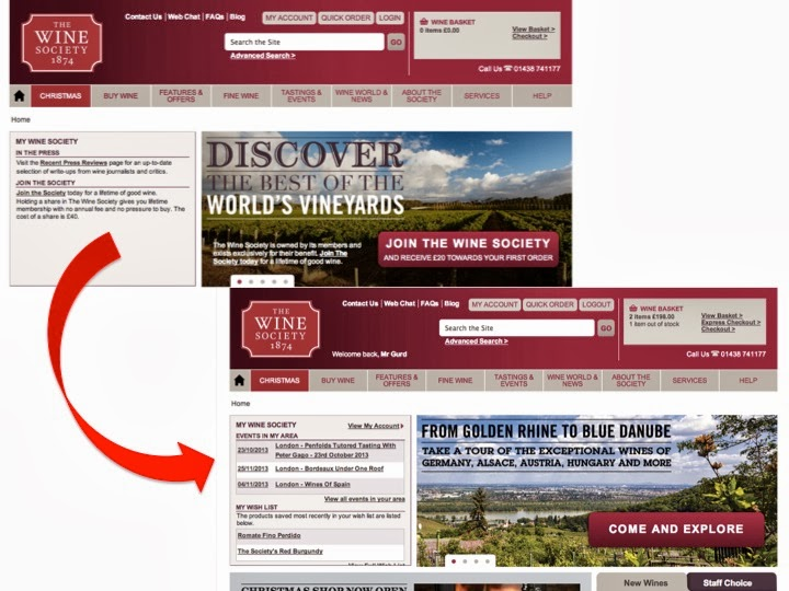 The Wine Society personalised homepage