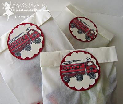 stampin up, fire truck, feuerwehrauto, boy's birthday, kindergeburtstag junge, blender pen, give-away