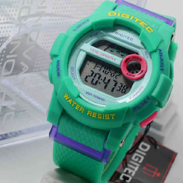 Jam Tangan Digitec DG2074 4lady fullgreen rubber  Original.