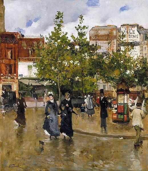 Norbert Goeneutte - Elegantes a la Place Clichy