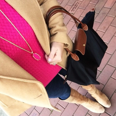 kendra scott necklace, camel peacoat, riding boots
