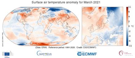 Κοπέρνικος : Η παγκόσμια θερμοκρασία του Μαρτίου 2021 ήταν 0,2ºC υψηλότερη από τον μέσο όρο της περιόδου 1991-2020