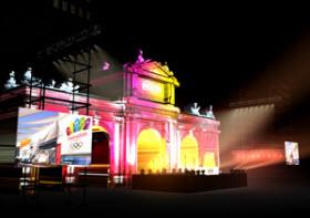 Pantallas gigantes y música en la Puerta de Alcalá por Madrid 2020. Sábado 7 de septiembre