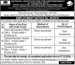 NIMH India Recruitment 2016-17 Notice
