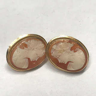 14K Gold and Shell Cameo Earrings