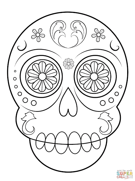 Printable Sugar Skulls Coloring Pages For Kids