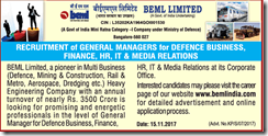 BEML Limited General Managers 2018 www.indgovtjobs.in
