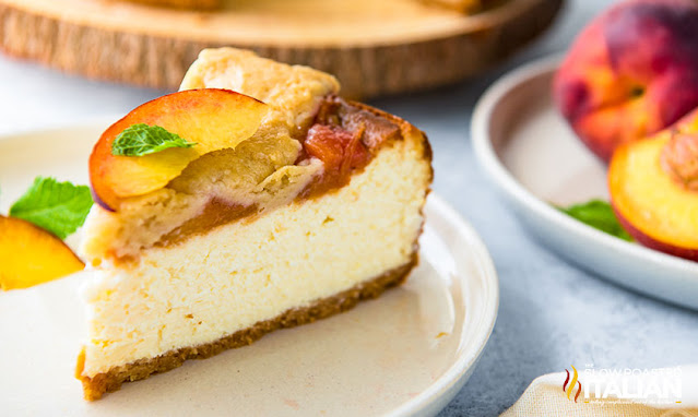 a slice of Peach Cobbler Cheesecake