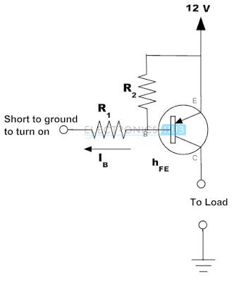 Contoh transistor PNP sebagai saklar