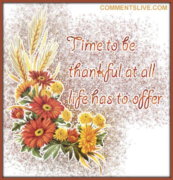 Time To Be Thankful, Wonderful Thanksgiving