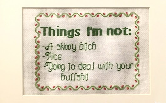 """Things I'm Not"" Cross Stitch Sampler"