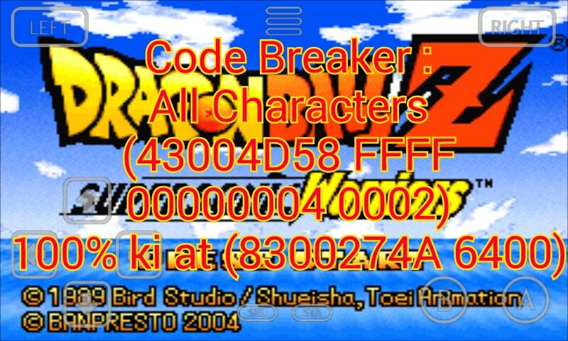 Dragon ball z super sonic warriors cheat codes
