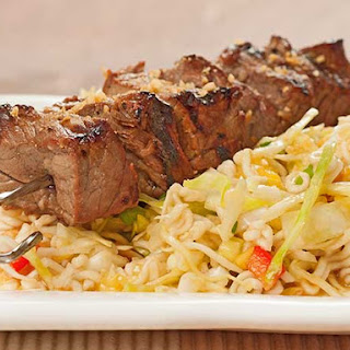 Pineapple Beef Kabobs with Spicy Ramen Slaw.
