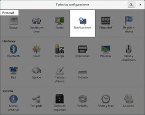 Como configurar GNOME con detalle. Configuración personal. Notificaciones.