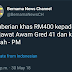 Pemberian Khas RM400 buat penjawat awam Gred 41 ke bawah