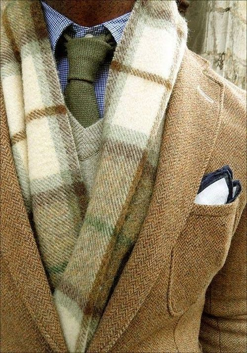 fall outfit idea for men with light brown jacket and green checked scarf