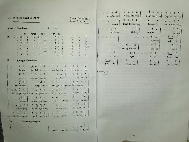 Notasi dan Gerongan Srepeg Banyumasan Slendro Sanga