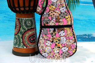 túi đàn ukulele hoa văn mèo