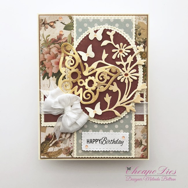 gold butterfly die card