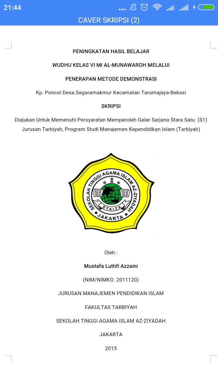 Contoh Judul Skripsi Manajemen Pendidikan Islam S1 Temukan Contoh