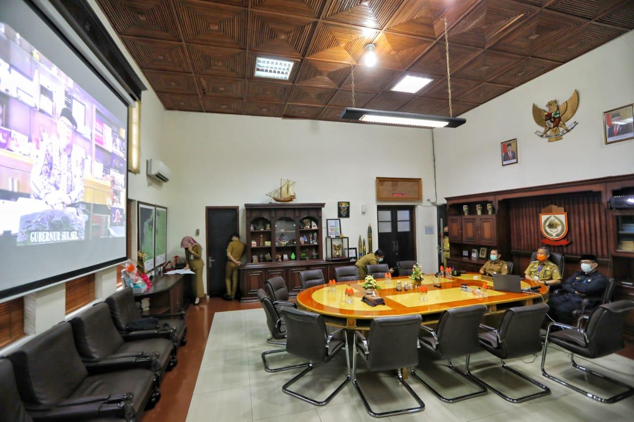 Pejabat Wali Kota Makassar Ikuti HBH Via Virtual Bersama Gubernur Sulsel