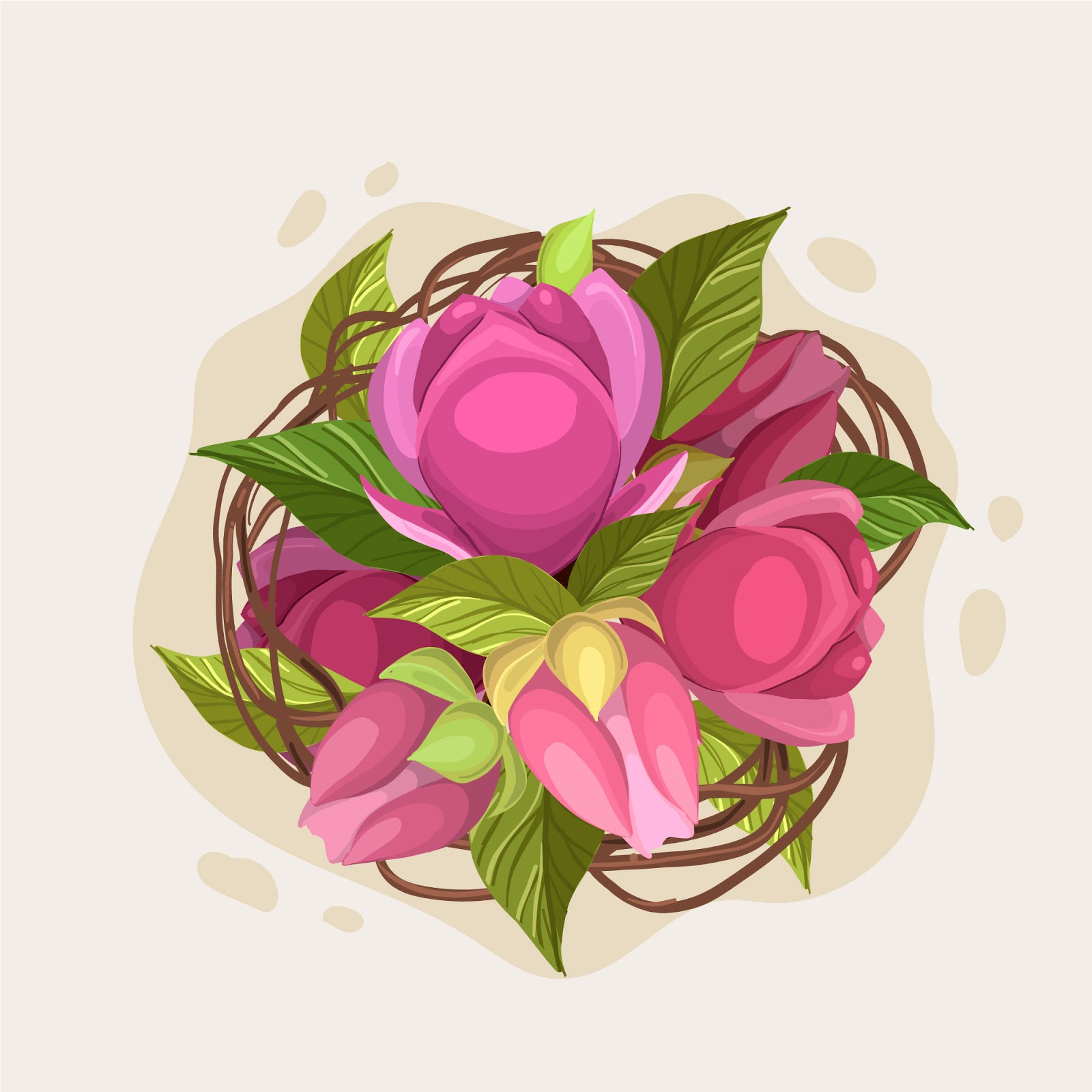 Beautiful Floral Bouquet Pink Roses Free Download Vector CDR, AI, EPS and PNG Formats
