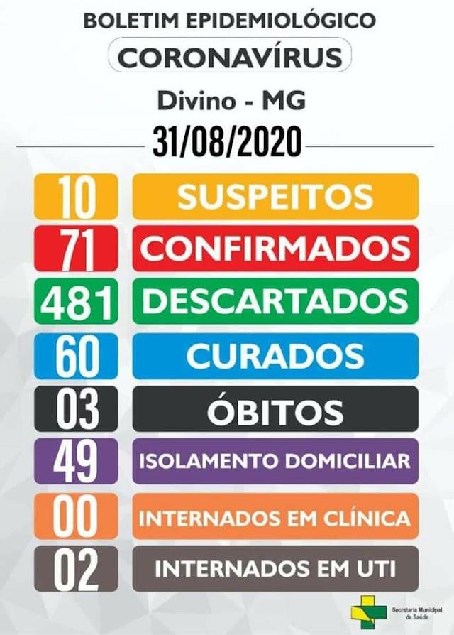 Boletim Epidemiológico Divino: 31 de Agosto de 2020