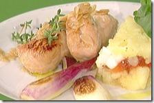 Tacchino glassato con tortino di patate e peperoni