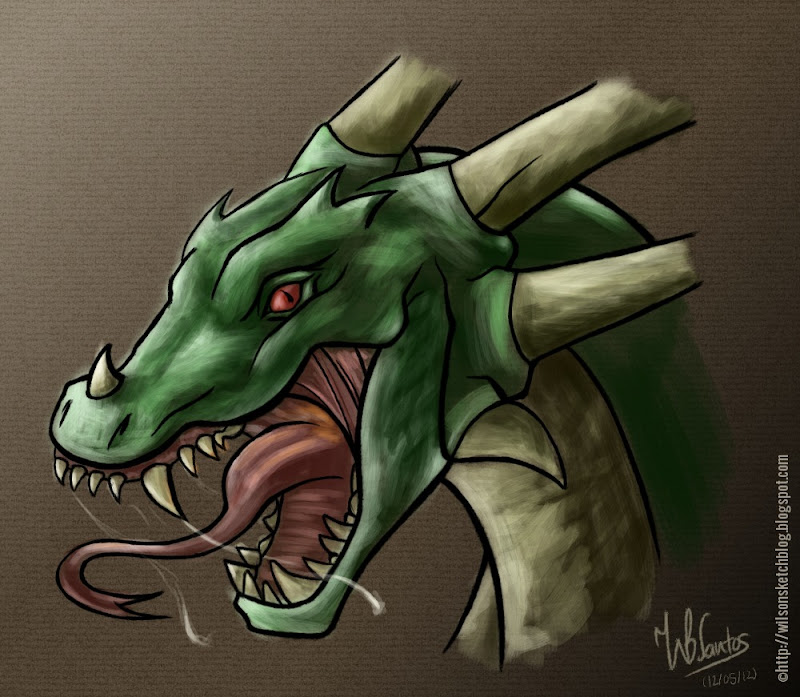 Dragon's head sketch, using Krita.