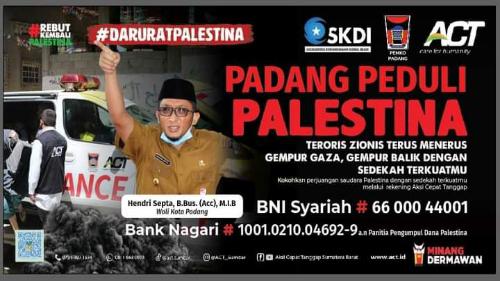Wako Hendri Septa Ajak Warga Padang Donasi Dana Palestina