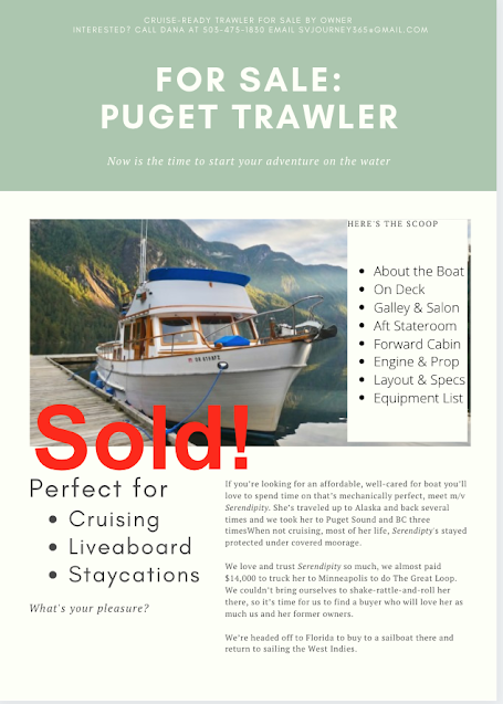 Puget Trawler for sale to pay for our next sailboat