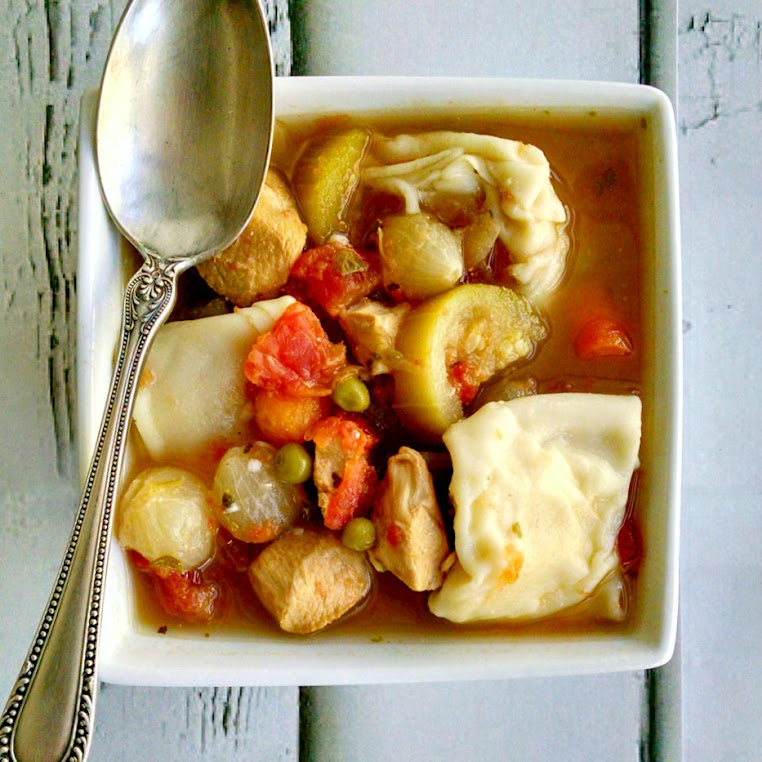 Chicken Minestrone with Goat Cheese Dumplings