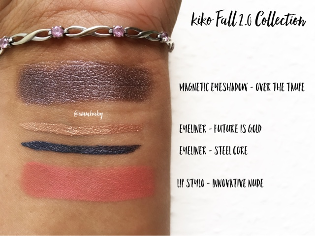 kiko fall 2.0 swatches - over the taupe swatch, metallic eyeliner swatches, kiko lip stylo innovative nude swatch nc40