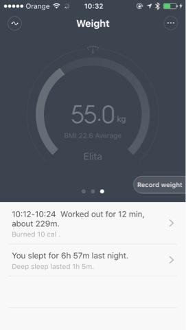 pantalla de xiaomi mi band control de peso
