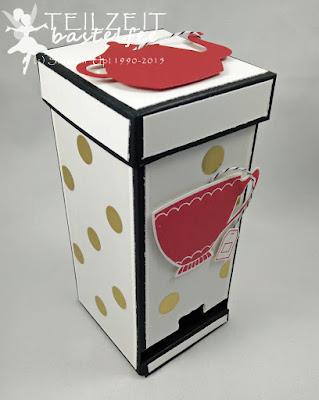 Stampin' Up! -  Auftrag, Teebeutelspender, Tea Bag Dispenser, Vollkommene Momente, A nice Cuppa, Framelits Teestunde, Cups & Kettle Framelits, Fancy Foil Designer Vellum Gold, So viele Jahre, Number of Years, Framelits Circle Collection