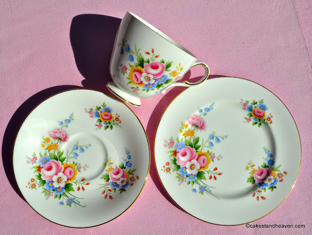 Paragon fine bone china floral tea trio