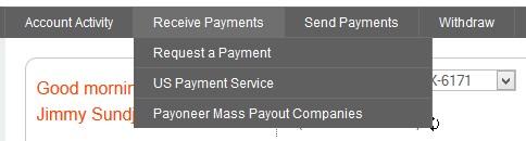 Payoneer US Payment Service menu