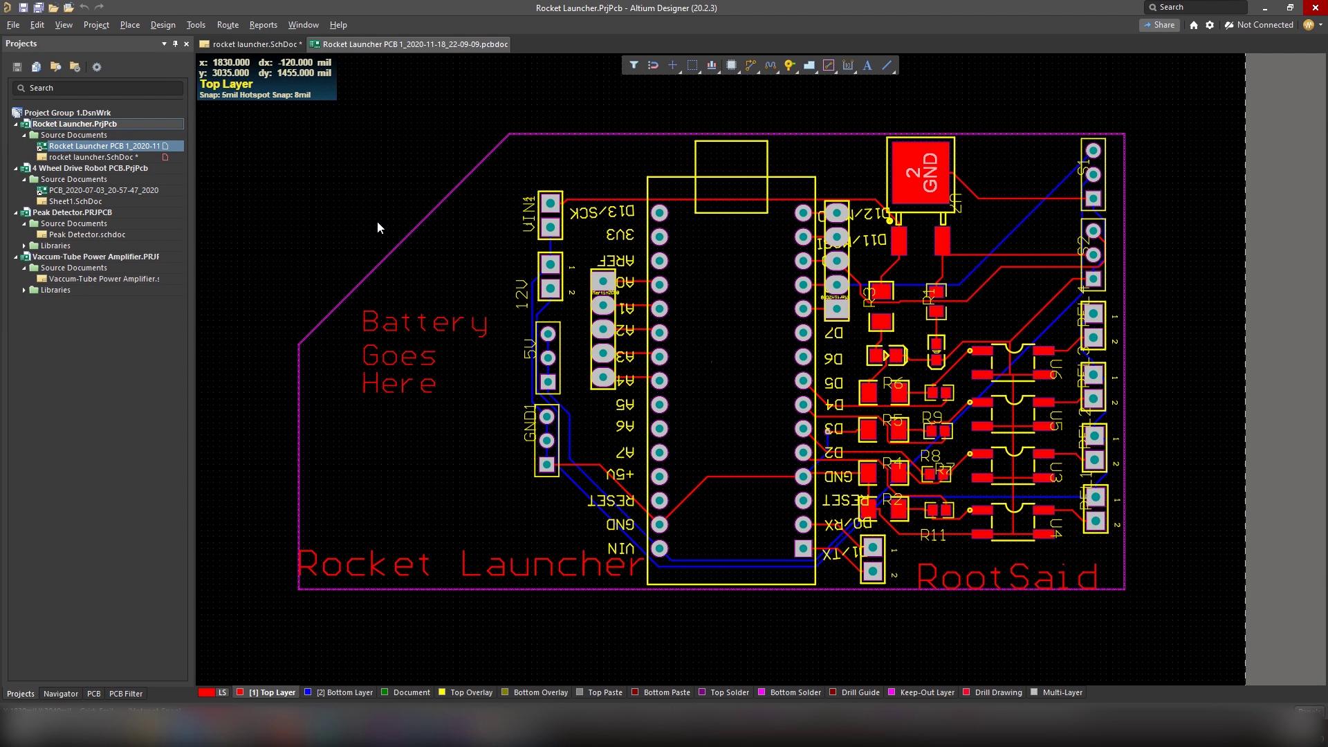 DIY Rocket Launcher PCB Layout