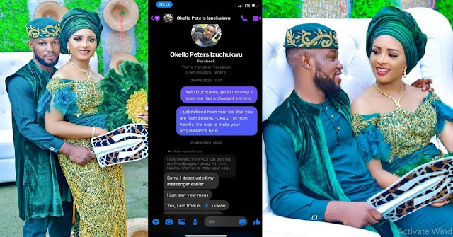 Lady who texted a Nigerian Guy on Facebook first gets married to him (Chat screenshots)