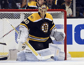 Bruins goalie Tuukka Rask makes a save