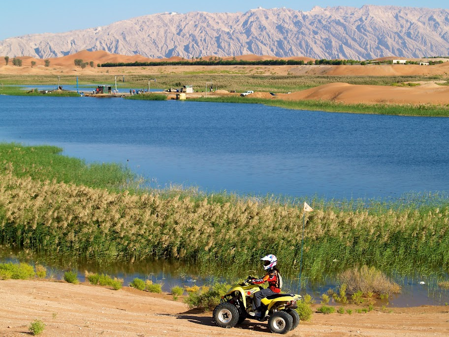 Dar Rossetti, 12, on a Suzuki Quadrunner 250cc glides past