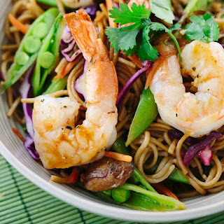Soba Noodles with Spicy Garlic Shrimp.