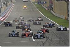 La partenza del gran premio del Bahrain 2015