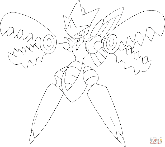 Click The Mega Scizor Pokemon Coloring Pages To View Printable Version Or  Color It Online Patible With Ipad And Android Tablets