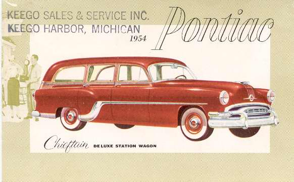 1954 Pontiac Chieftain Deluxe Station Wagon Keego Harbor Michigan Car Dealer